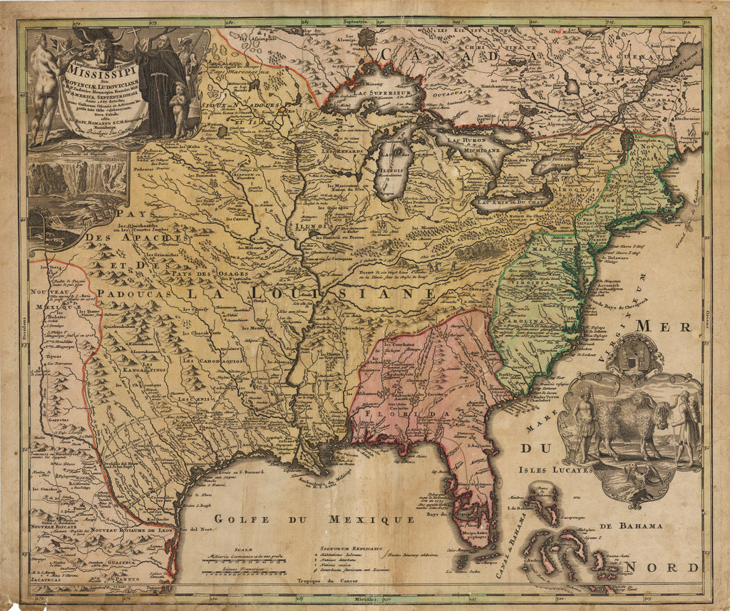 Antique map of america by homann 1720 hjbmaps hjbmaps 1720 amplissimae regionis mississipi seu provinciae ludovicianae gumiabroncs Image collections