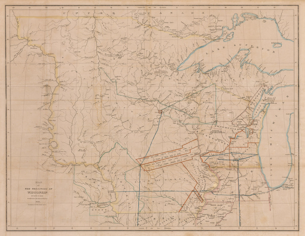 Antique Map of the Territory of Wisconsin by: Burr 1836 : hjbmaps ...