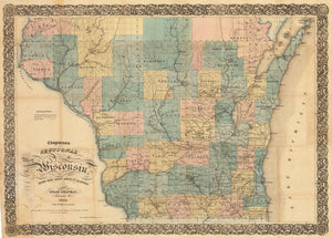 Chapman's Sectional Map of Wisconsin with the most recent surveys