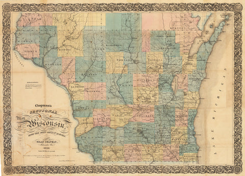 1856 Chapman's Sectional Map of Wisconsin with the most recent surveys