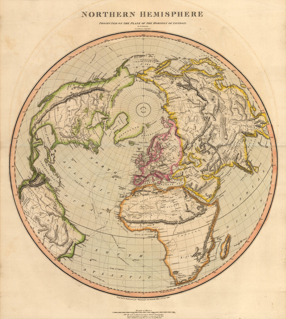 Northern hemisphere projected on the plane of the horizon of london 1816 northern hemisphere projected on the plane of the horizon of london thomson world map gumiabroncs Image collections