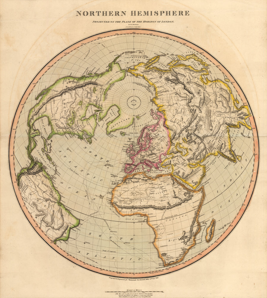 1816 Northern Hemisphere Projected on the Plane of the Horizon of London Thomson World Map