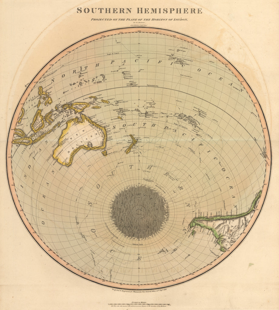 1816 Southern Hemisphere Projected on the Plane of the Horizon of London Thomson Australia World Map