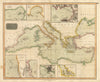 1817 Chart of the Mediterranean Sea Africa Italy Turkey Europe Hand Colored Antique Map