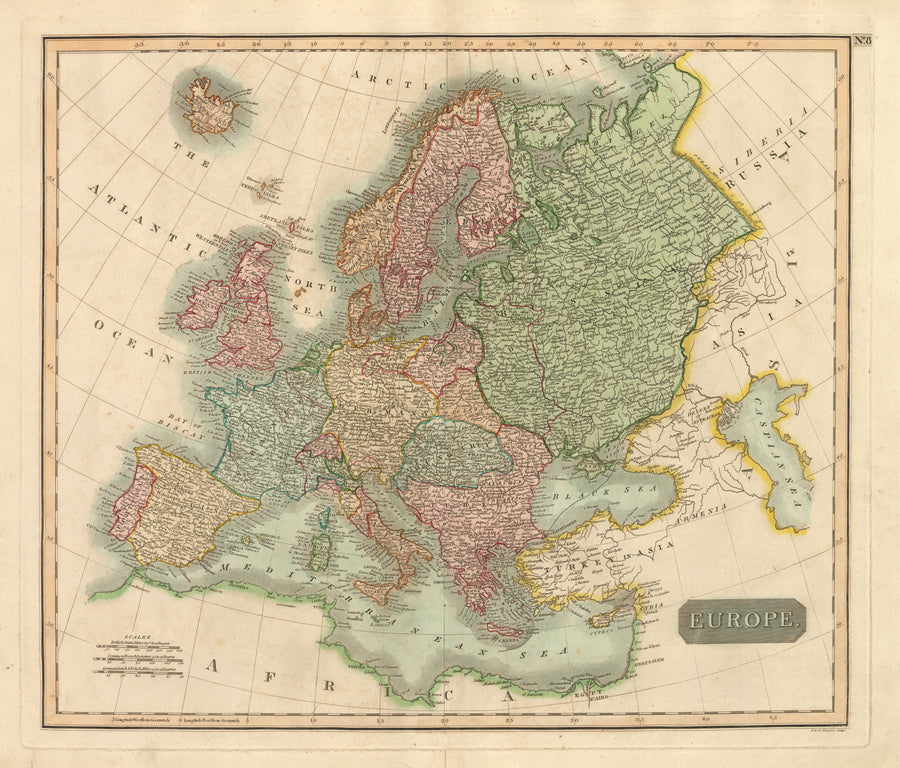 Europe 1817 Antique Map Spain France Germany Portugal England