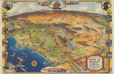 1946 Historic Roads to Romance, California's Southern Empire, Tourist Paradise