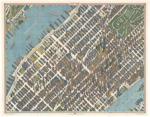 New York, New York City, NYC, Skyscrapers, antique map, perspectival, perspective, 20th Century, Herman Bollmann, Pictorial, manhattan