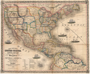 Map of the United States, Canada, Mexico and the West Indies with Central America, Showing All the Routes to California with a Table of Distances, 19th century, Ensign, Bridgman, Fanning, Trade routes, travel routes, antique map