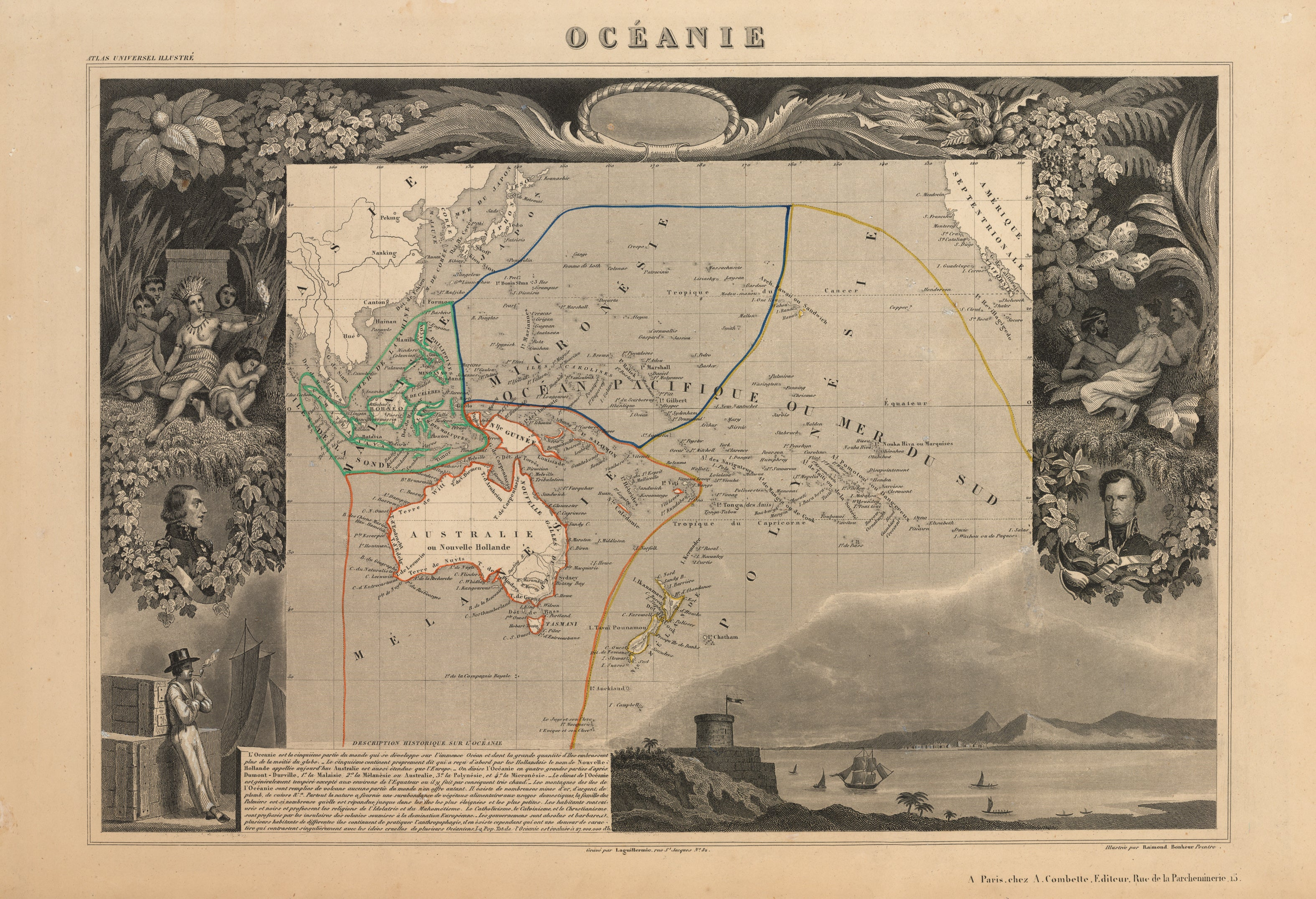 Oceanie, Pacific Ocean, Victor Levasseur, 19th Century, Antique Map, Australia, South Pacific, California coast