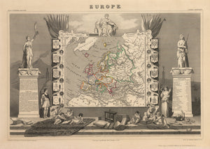 Europe, French, Antique map, illustrated, Victor Lavasseur