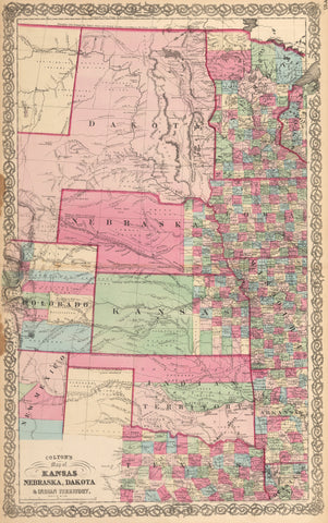 1864 Colton's Map of Kansas, Nebraska, Dakota & Indian Territory.