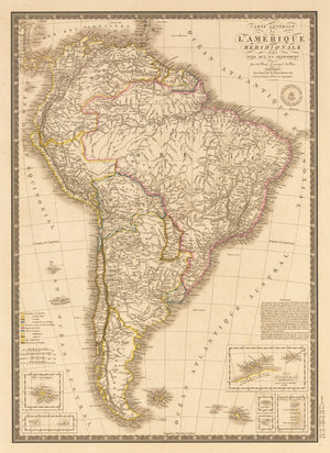 Antique Map of South America by: Brue 1826 : nwcartographic.com