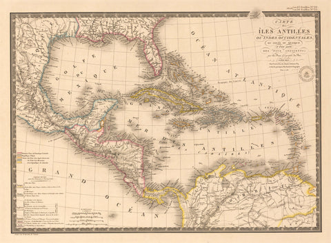 1826 Carte des Iles Antilles ou Indes Occidentales, Du Golfe Du Mexique...