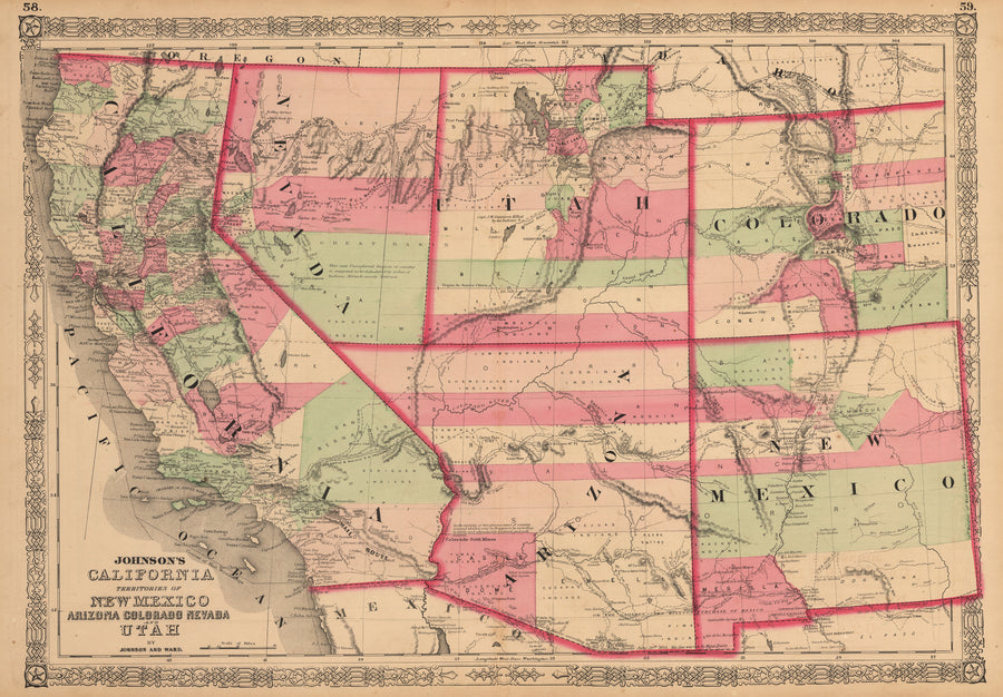 Johnson's California Territories of, New Mexico, Arizona, Colorado, Nevada, Utah, antique map, AJ Johnson, 19th Century, United States, West Coast