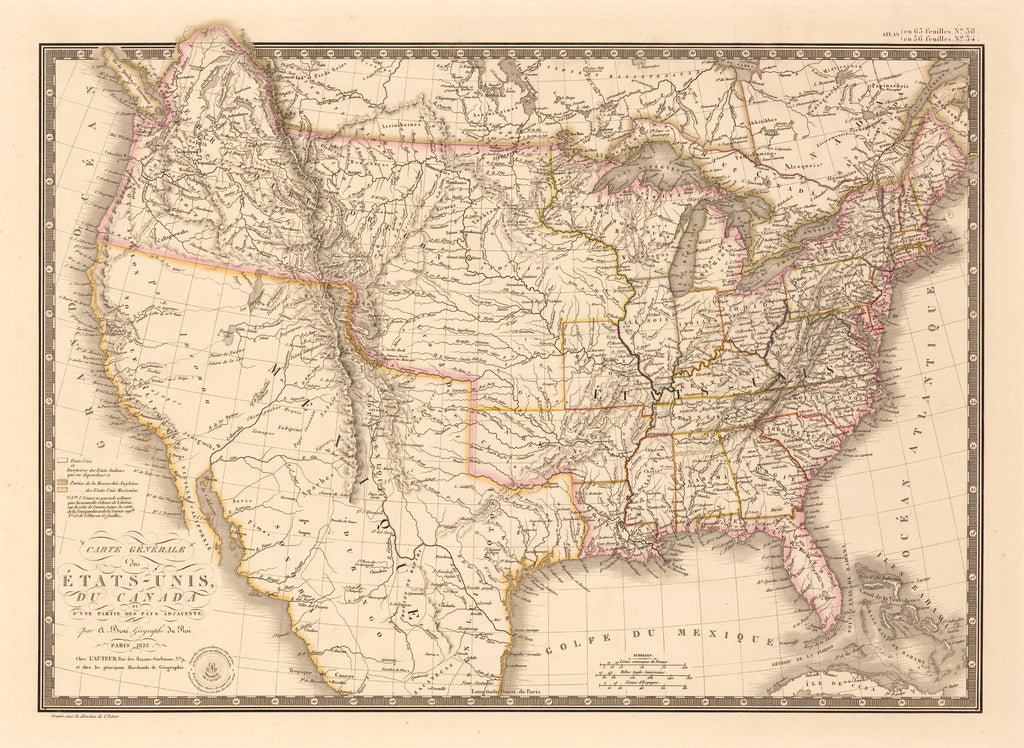Carte Canada Uni.Antique Map Of The United States And Canada By Brue 1826 Hjbmaps