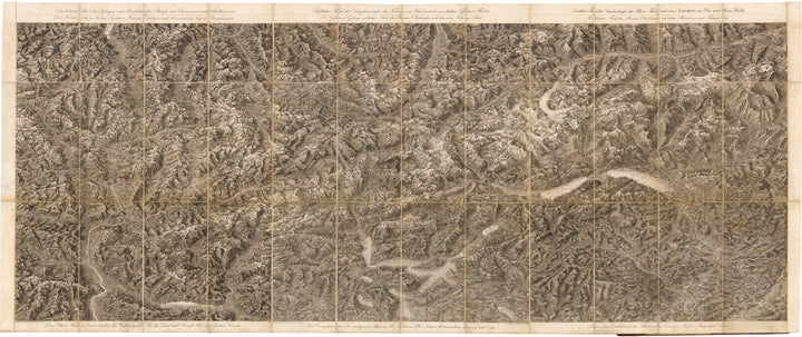 Maieriches Relief der Schweizer und angranzenden Alpen, Switzerland, Swiss, Alps, Mountains, etching, engraving, 19th Century, Antique map