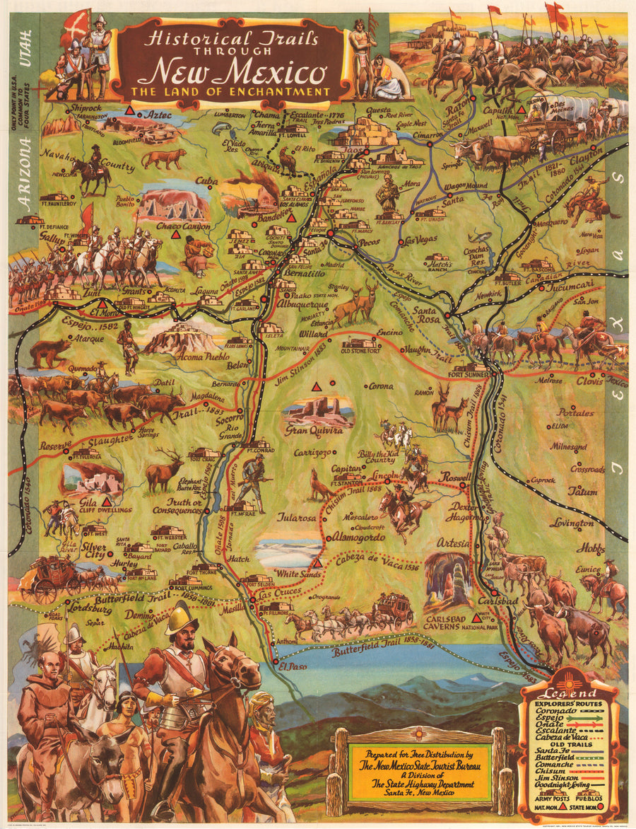 Historic Trails Through New Mexico The Land of Enchantment, Antique map, 20th century, United States, Pictorial