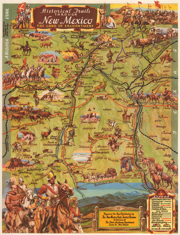 1951 Historic Trails Through New Mexico The Land of Enchantment