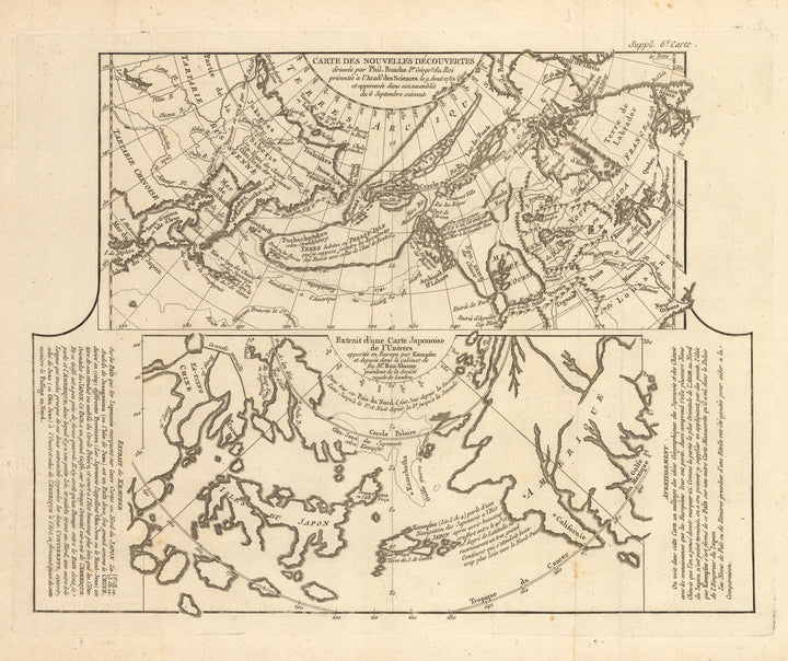 Carte Des Nouvelles Decouvertes dresseee par Phil. Buache… [with] Extrait d'une Carte Japonoise de l'Univers apportee en Europe par Kaempfer . . ., Japan, Russia, Northwest Passage, Pacific, North America, Canada, 18th Century,  Buache, Antique Map