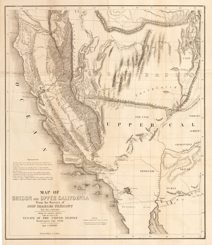 Map of Oregon and Upper California From the Surveys of John Charles Fremont and other Authorities, 19th Century, Antique Map, United States