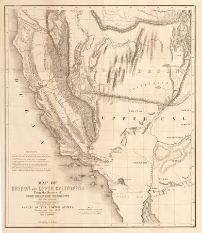 1848 Map of Oregon and Upper California From the Surveys of John Charles Fremont and other Authorities