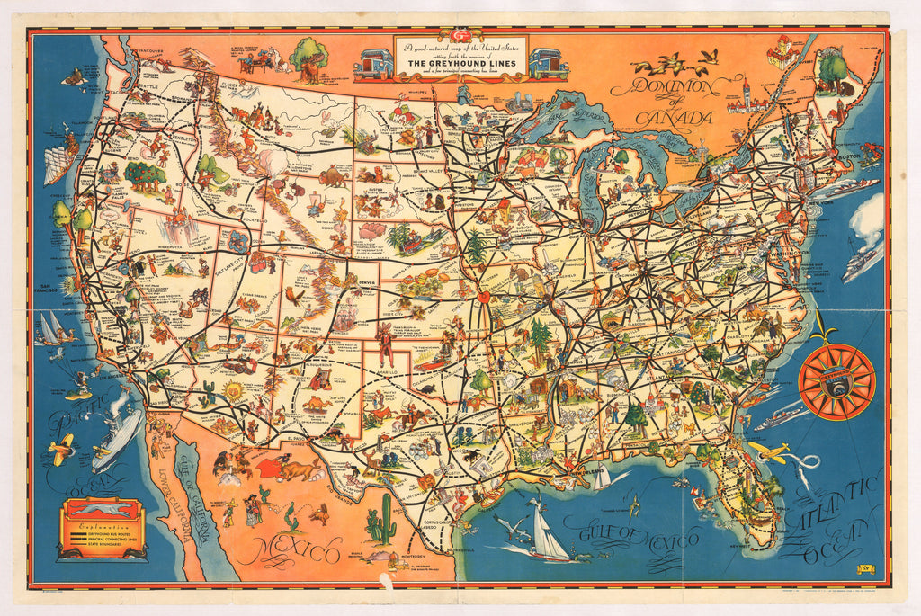 A good-natured map of the United States setting forth the services of The Greyhound Lines and a few principal connecting bus lines