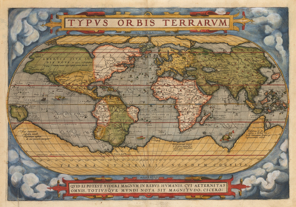 Antique Map of the World - Typus Orbis Terrarum by: Abraham Ortelius