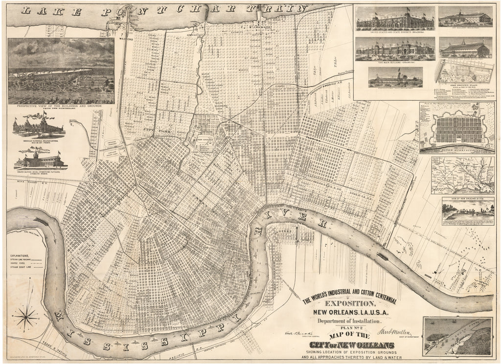 Antique New Orleans Map.1884 The World S Industrial And Cotton Centennial Exposition New Orleans La