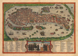 Antique Map of Venice by Braun & Hogenberg 1574 : nwcartographic.com