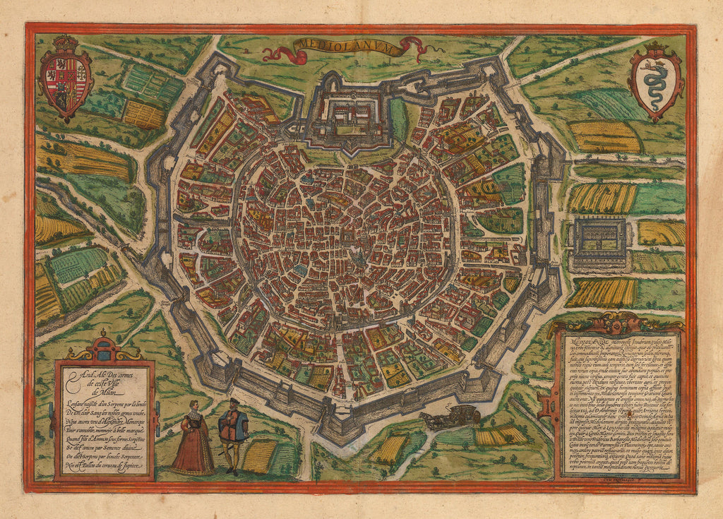 Antique Map of Milan, Italy by Bran & Hogenberg 1574 : hjbmaps.com