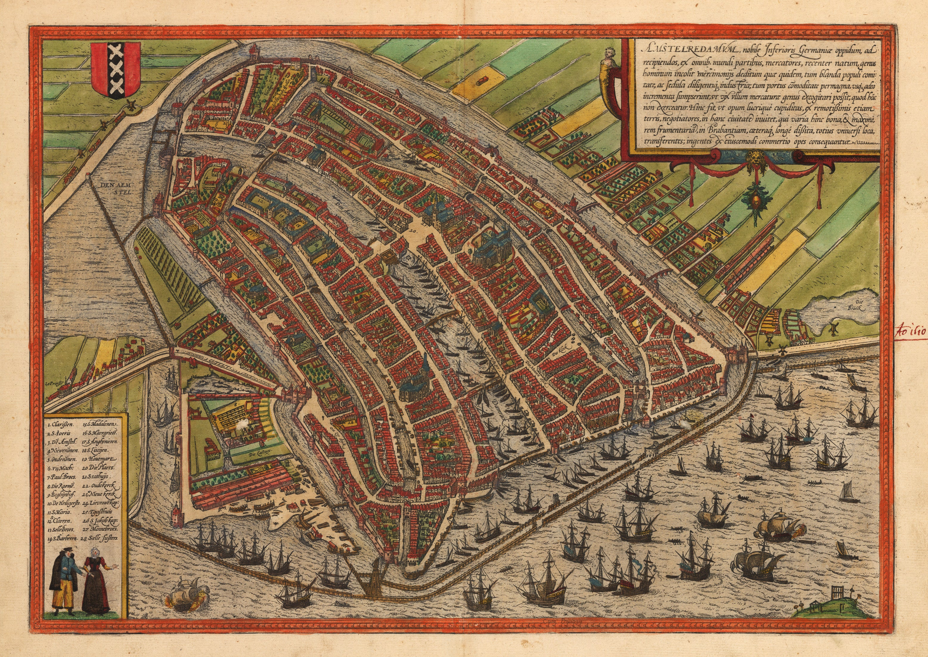 Amsterdam. By Braun & Hogenberg 1574 - nwcartographic.com