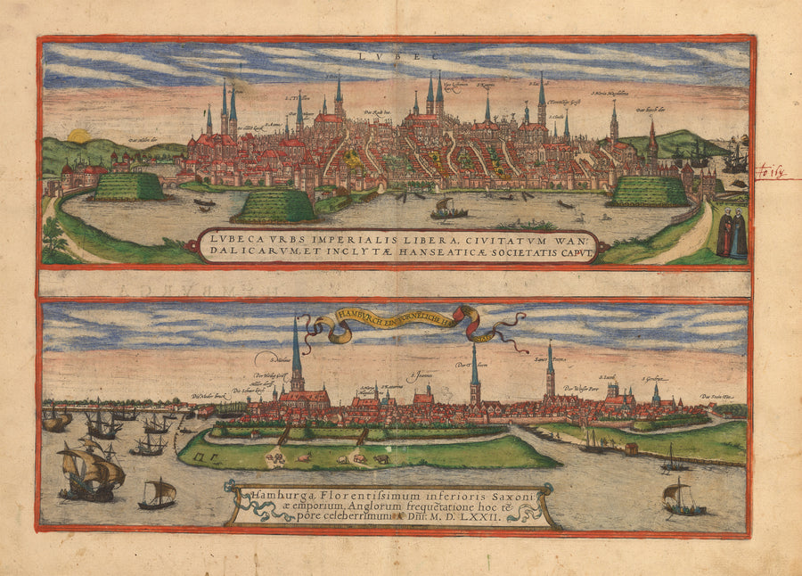 Antique Print of Lübeck and Hamburg by Braun & Hogenberg : nwcartographic.com