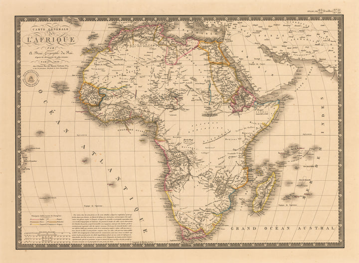 Carte Generale de L'Afrique par A. Brue, Geographe du Roi, Africa, Brue, Antique map, 19th Century