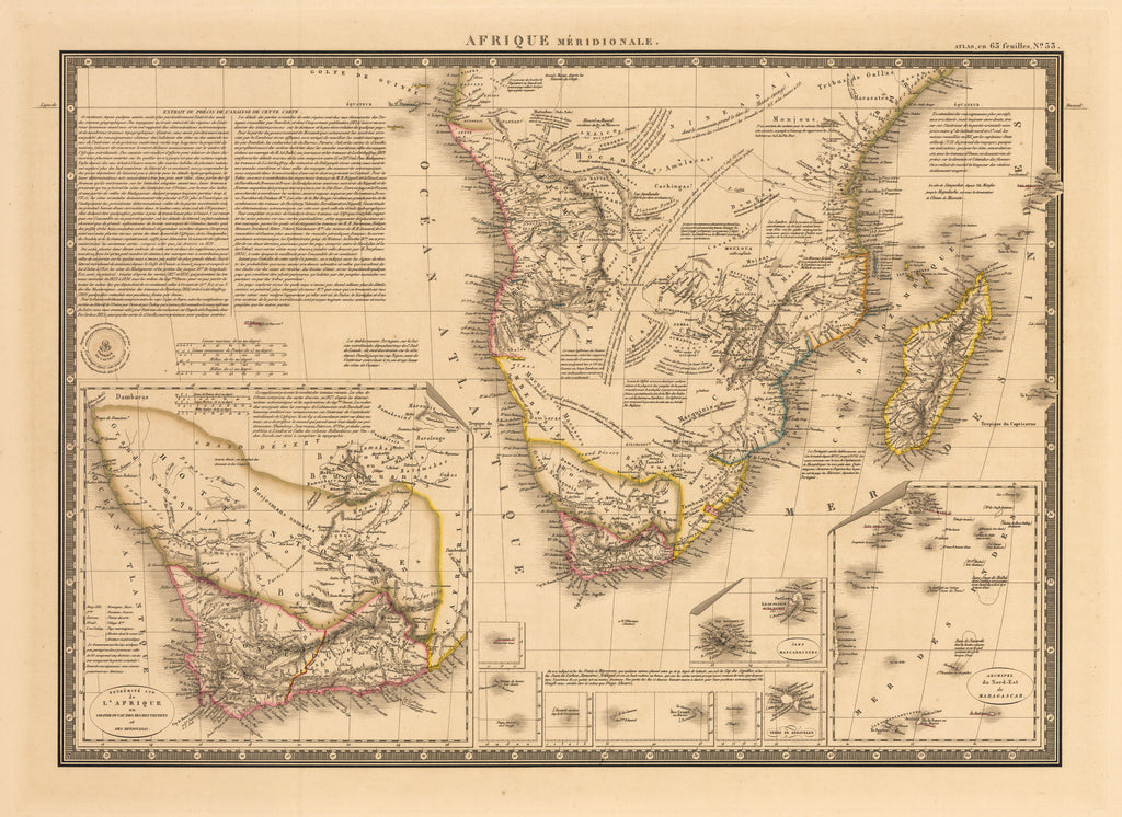 Afrique Meridionale - Antique Map of Southern Africa by Brue 1828 : hjbmaps.com