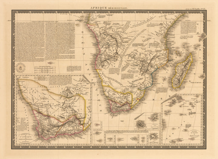 Afrique Meridionale - Antique Map of Southern Africa by Brue 1828 : nwcartographic.com