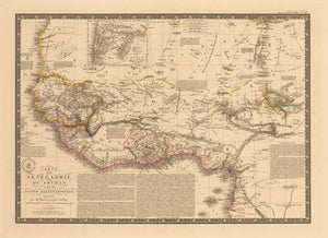 Antique Map of Western Africa by Brue 1828: nwcartographic.com