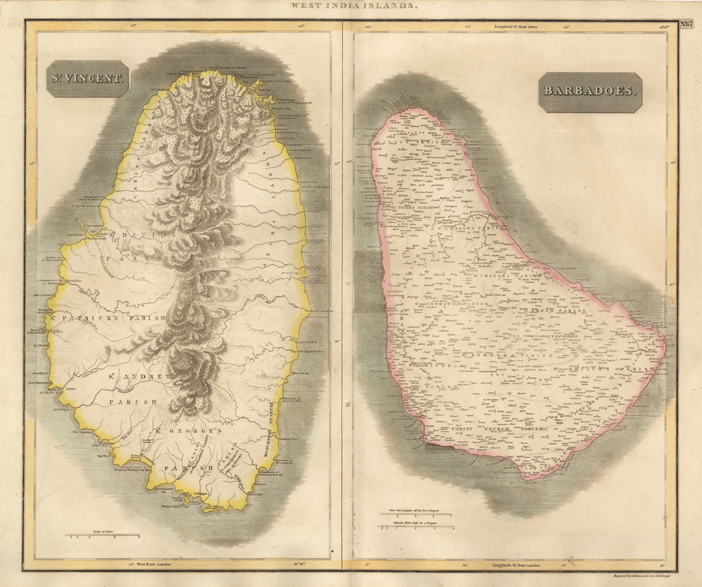 Antique Map of St. Vincent and Barbados by Thompson 1817