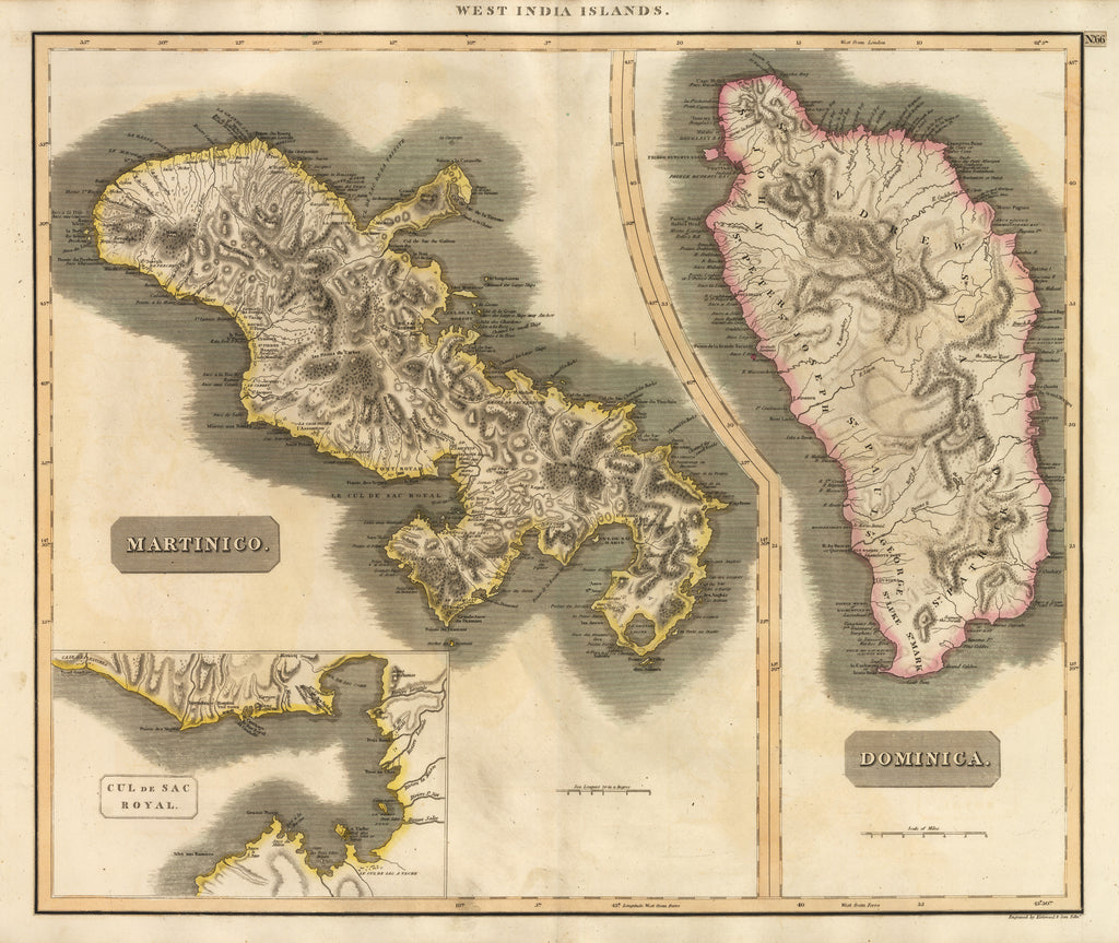 Antique Map of Dominica & Martinique by Thompson 1817