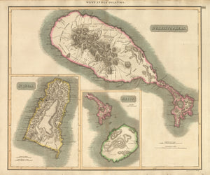 Antique Map of St. Kitts and St. Lucia by Thompson 1817 : nwcartographic.com