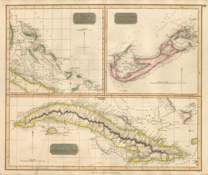 Antique Map of the Bahamas, Bermuda, and Cuba 1815 : nwcartographic.com