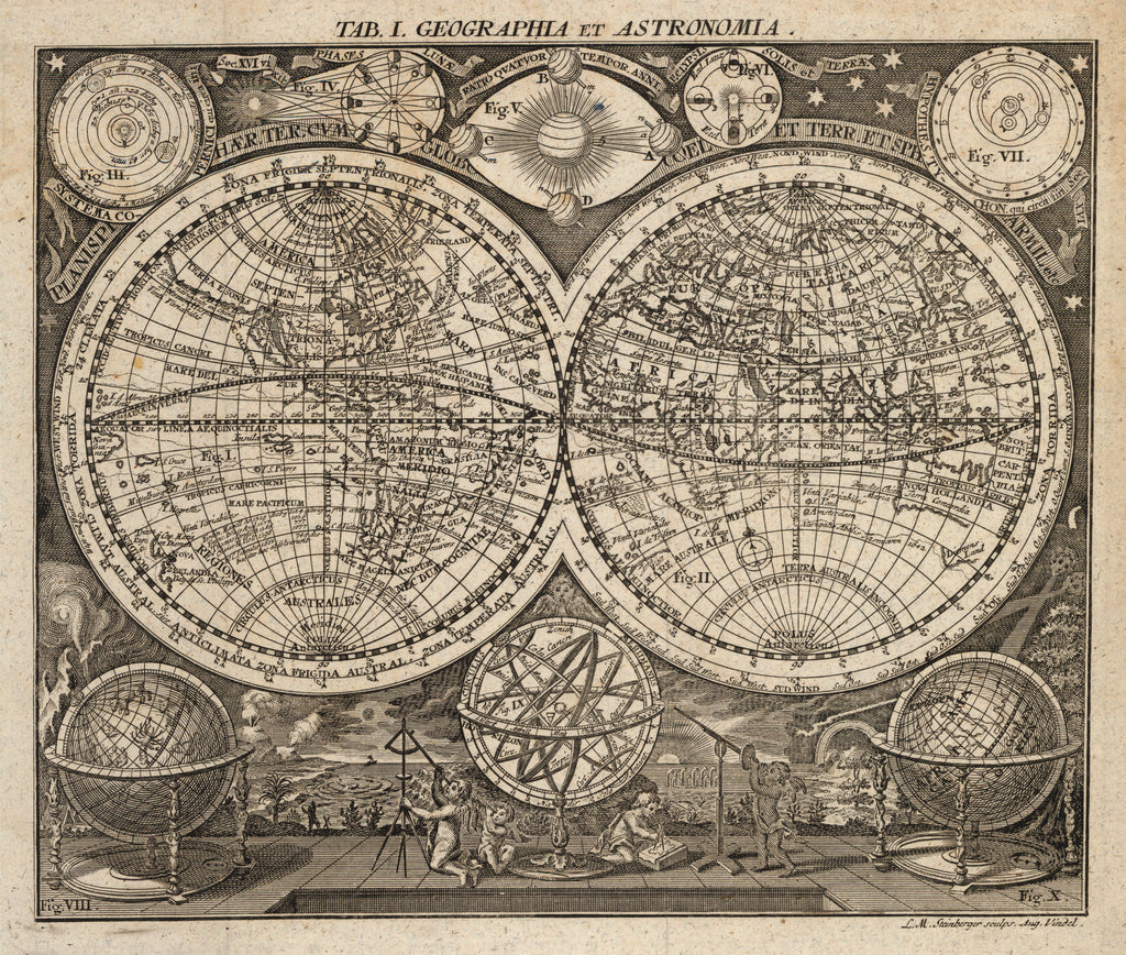 Geographia et Astronomia, 17th Century, Steinberger, World Map, Eastern Hemisphere, Western Hemisphere, Double Hemisphere, Engraving, etching, California as an Island