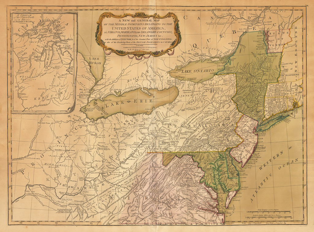 A New and General Map of the Middle Dominions Belonging to the United States of America by: Laurie & Whittle 1794
