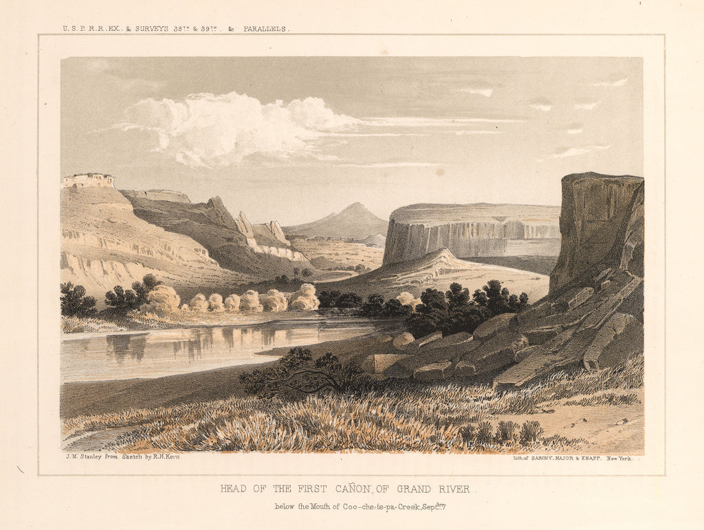 Group of landscape prints detailing the Pacific Railroad Surveys of the 38th and 39th parallels