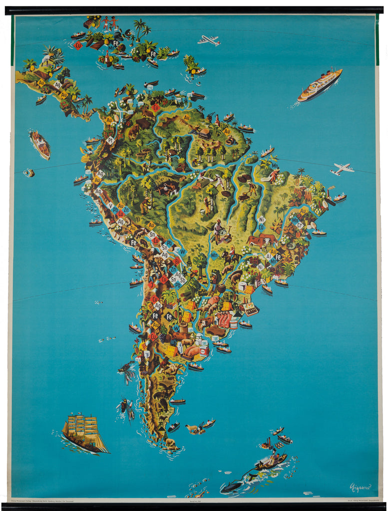 Pictorial Wall Map of South America : Sudamerika 1957 - hjbmaps.com