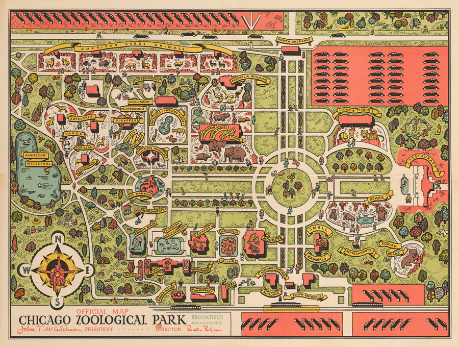 Official Map Chicago Zoological Park or Brookfield Zoo in 1935 : nwcartographic.com