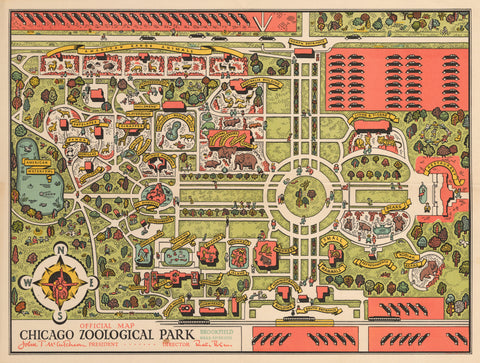 1935 Official Map Chicago Zoological Park