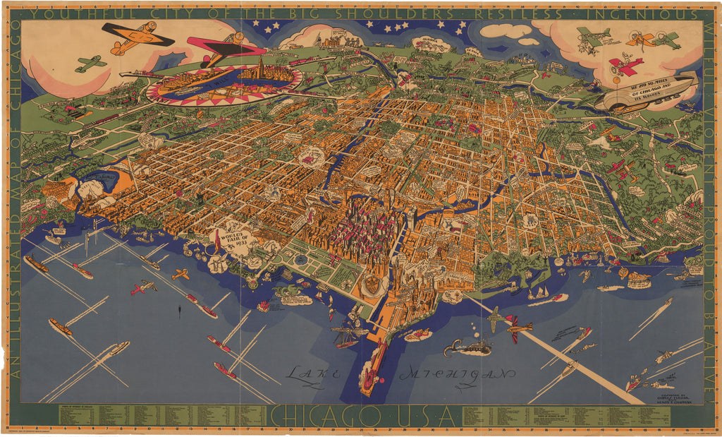 An Illustrated Map of Chicago, Youthful City of the Big Shoulders – Restless – Ingenious – Wilful – Violent – Proud to be Alive by Turzak & Chapman 1931 - HJBMaps.com
