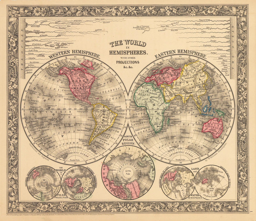 The World in Hemispheres with other Projections By: Samuel A. Mitchell Jr. 1862 - nwcartographic.com