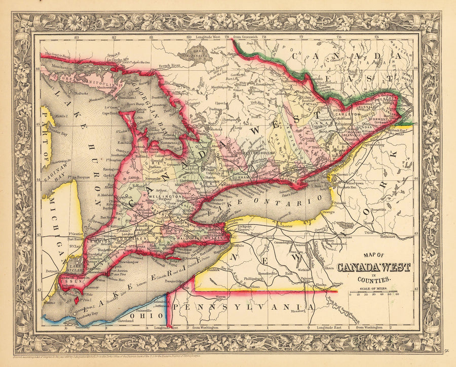 Antique Map of Lower Ontario Canada by: Mitchell 1862 : nwcartographic.com