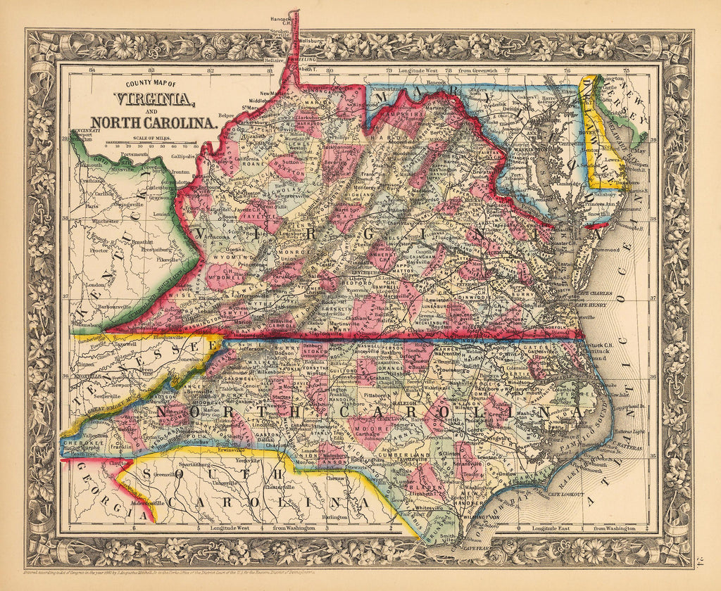 Antique Map of Virginia and North Carolina by Mitchell 1862 : HJBMaps.com